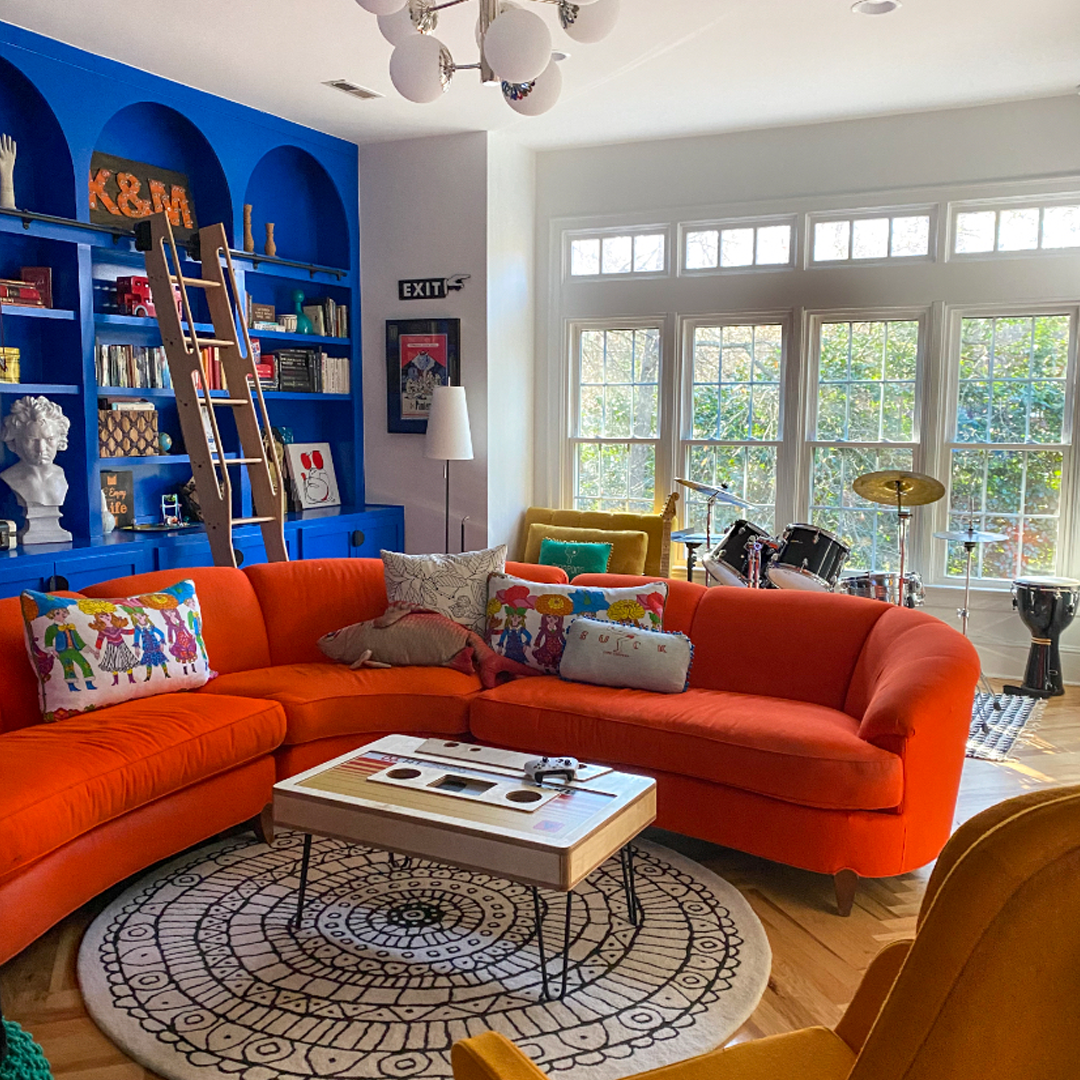 A living room with large windows
