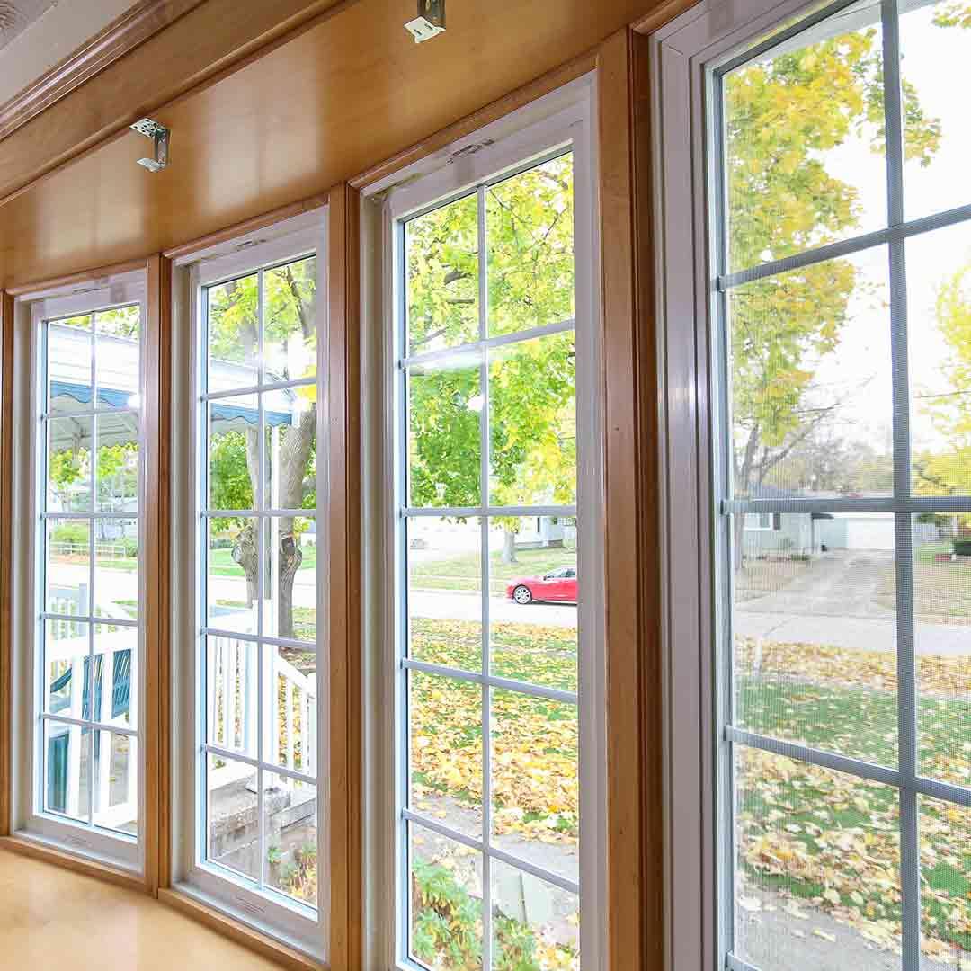 bow window side view woodgrain vinyl