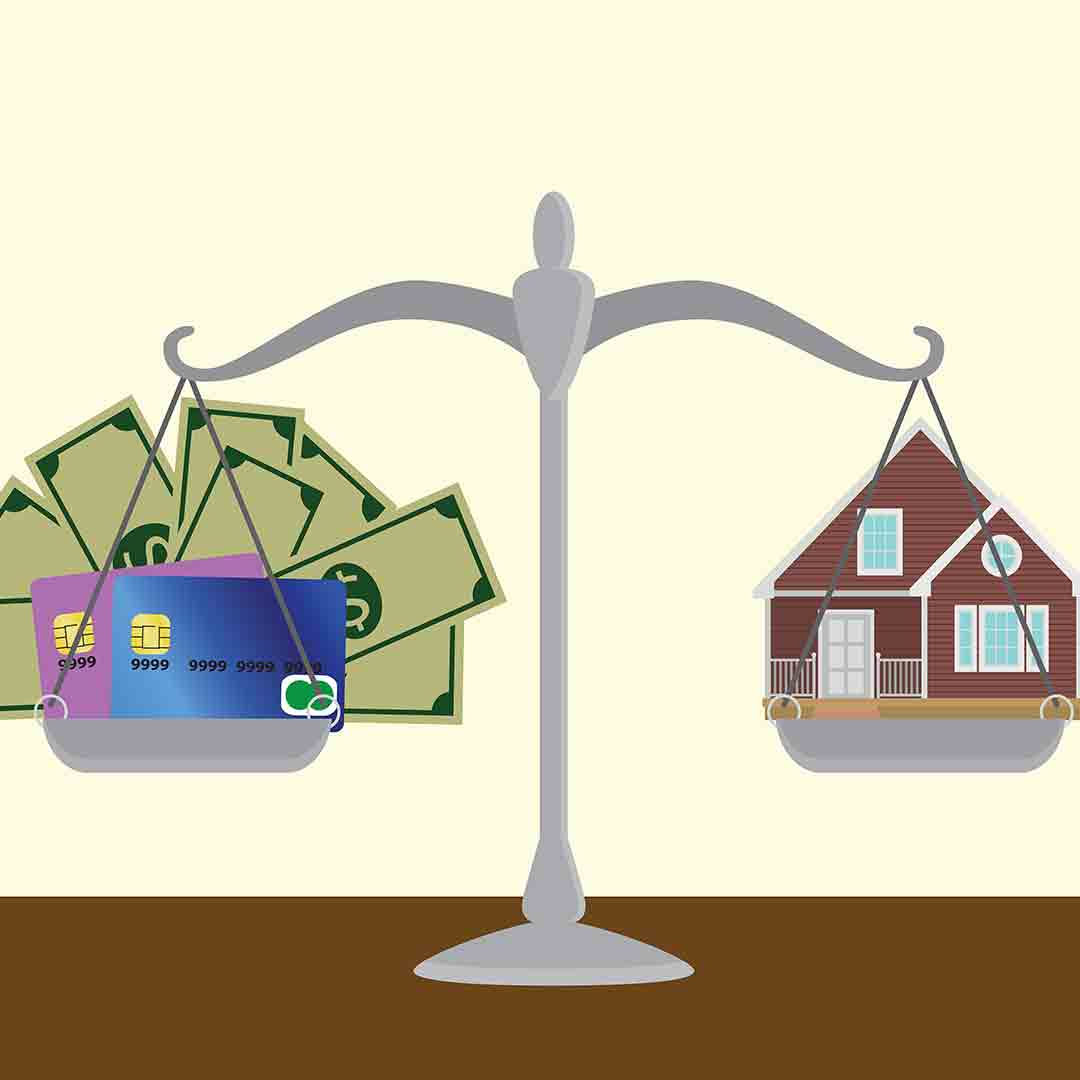 illustrated balance of money/debt to homeownership