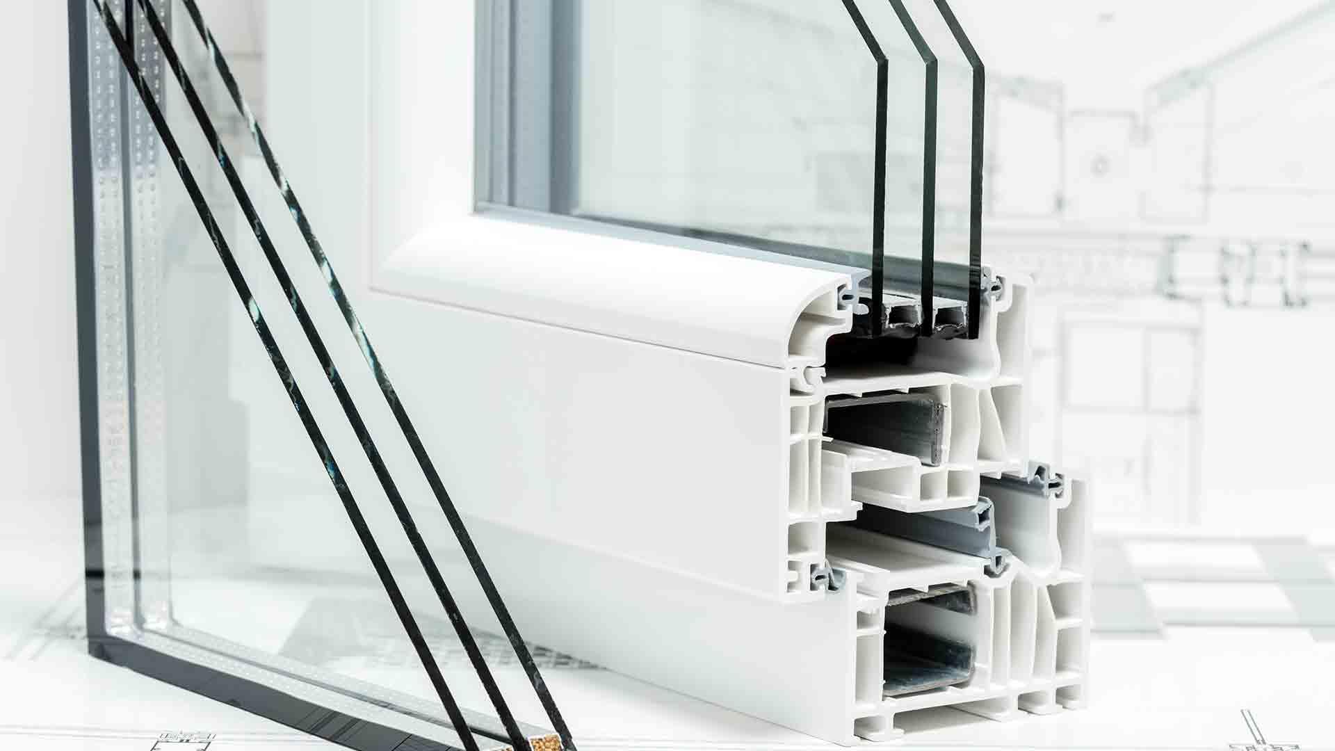 triple pane window segments in vinyl siding