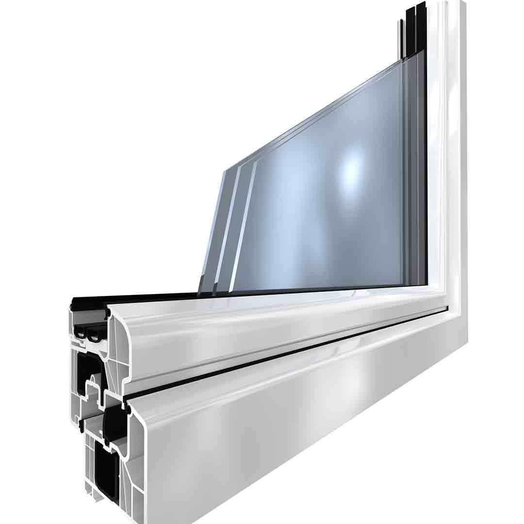 close up rendering of triple pane glass