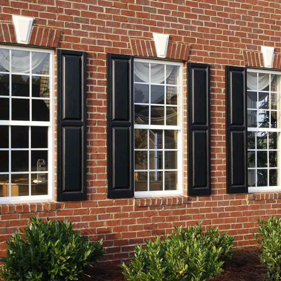 double hung windows with grids and shutters
