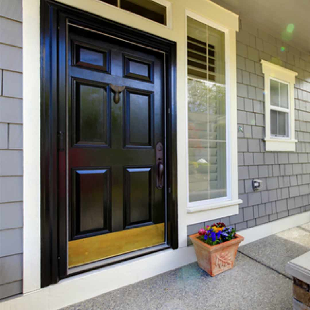 black front entry door
