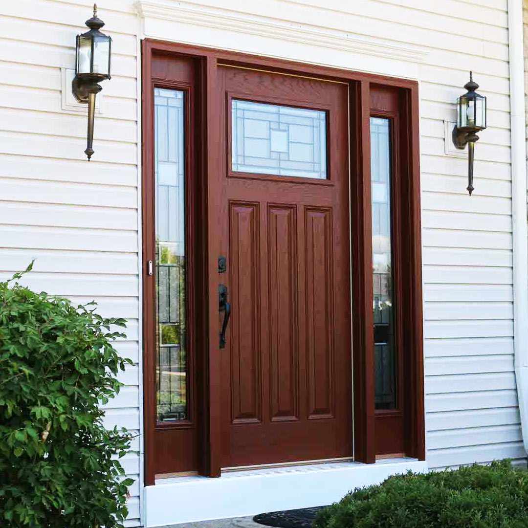 brown vinyl front entry door