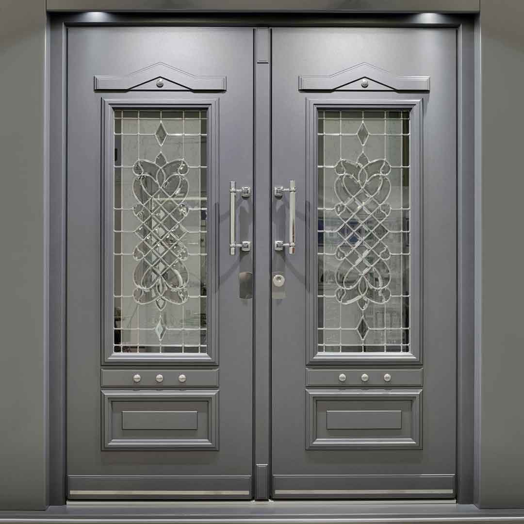 ornate steel door grey
