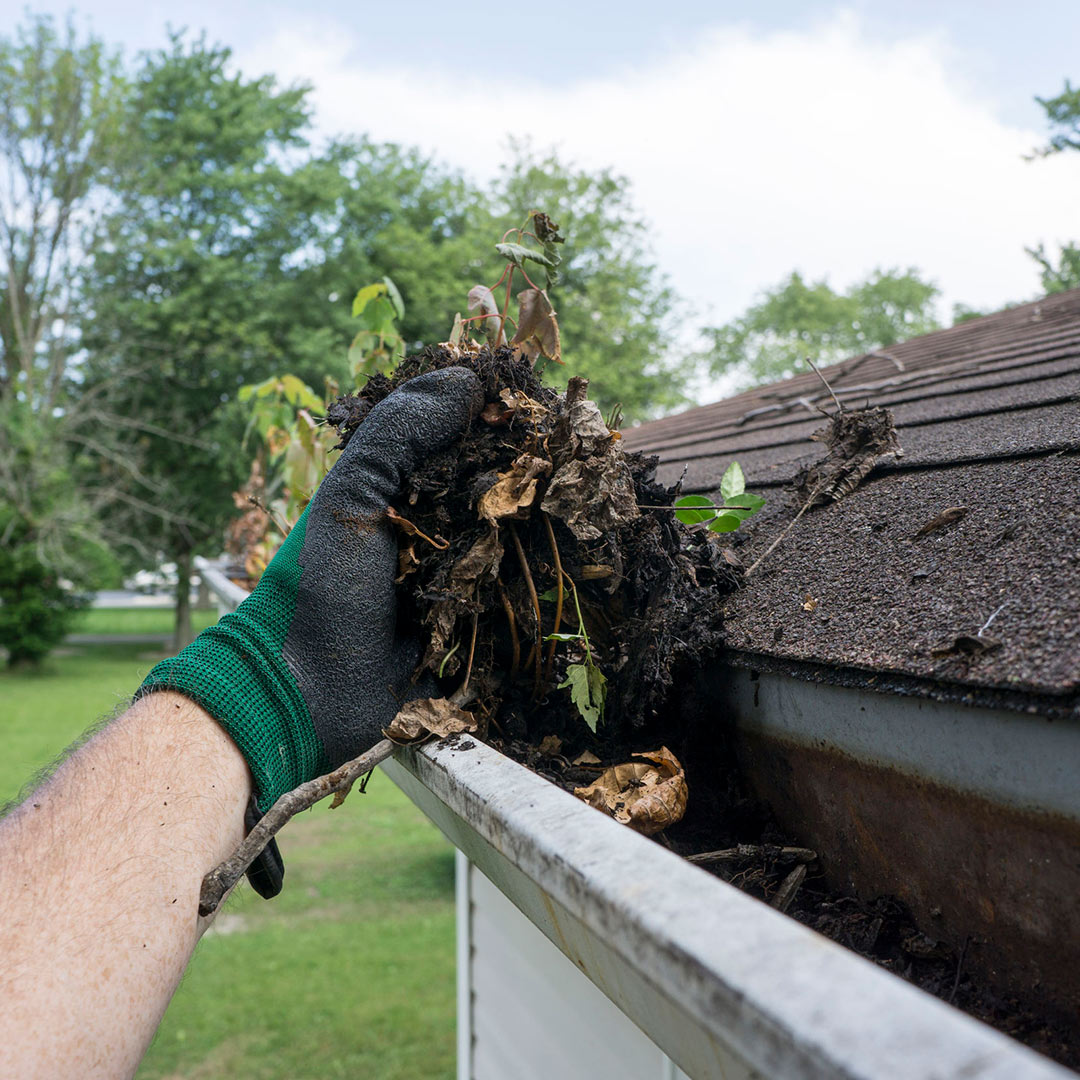 gloved hand cleaning out debris form gutter
