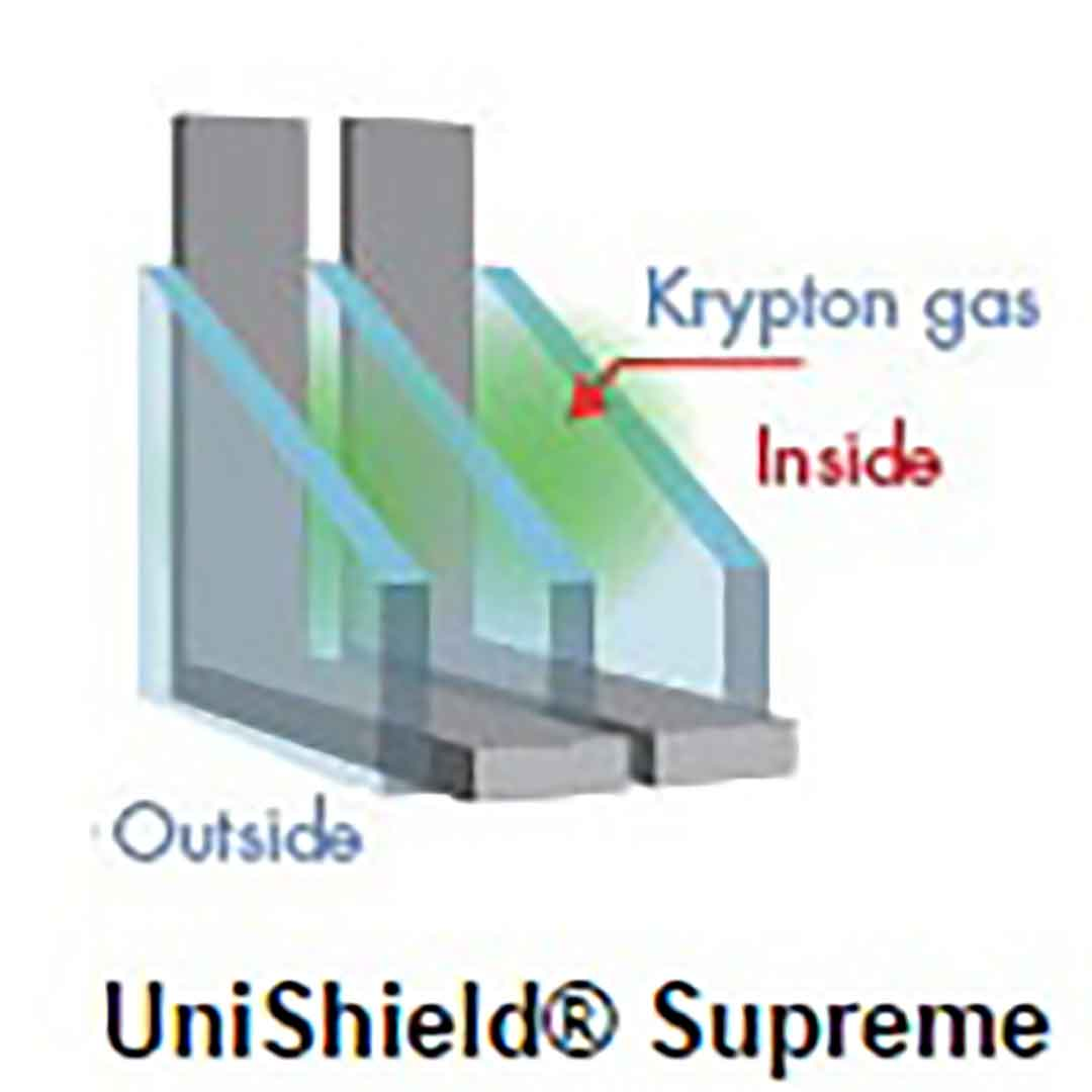 krypton gas between triple panes illustration