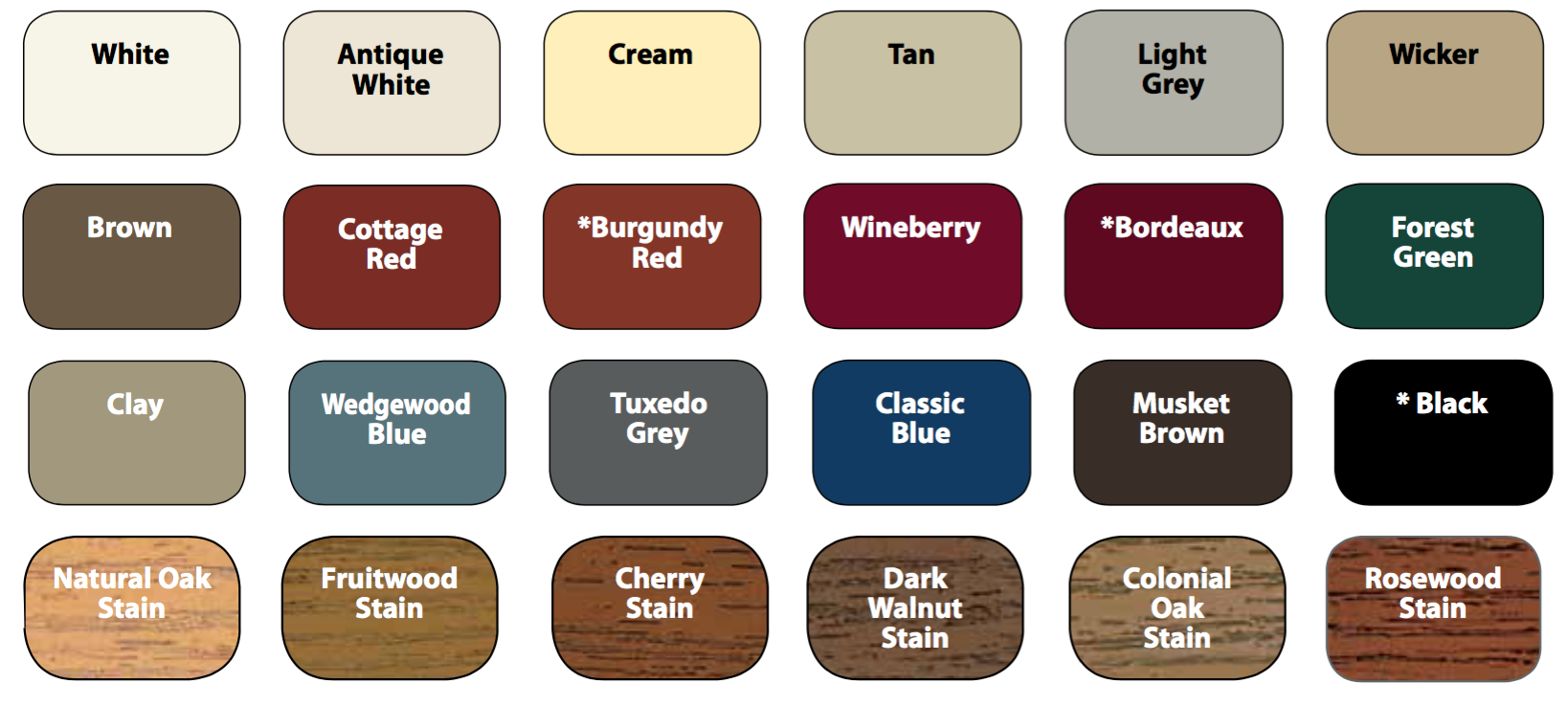 Available entry door colors