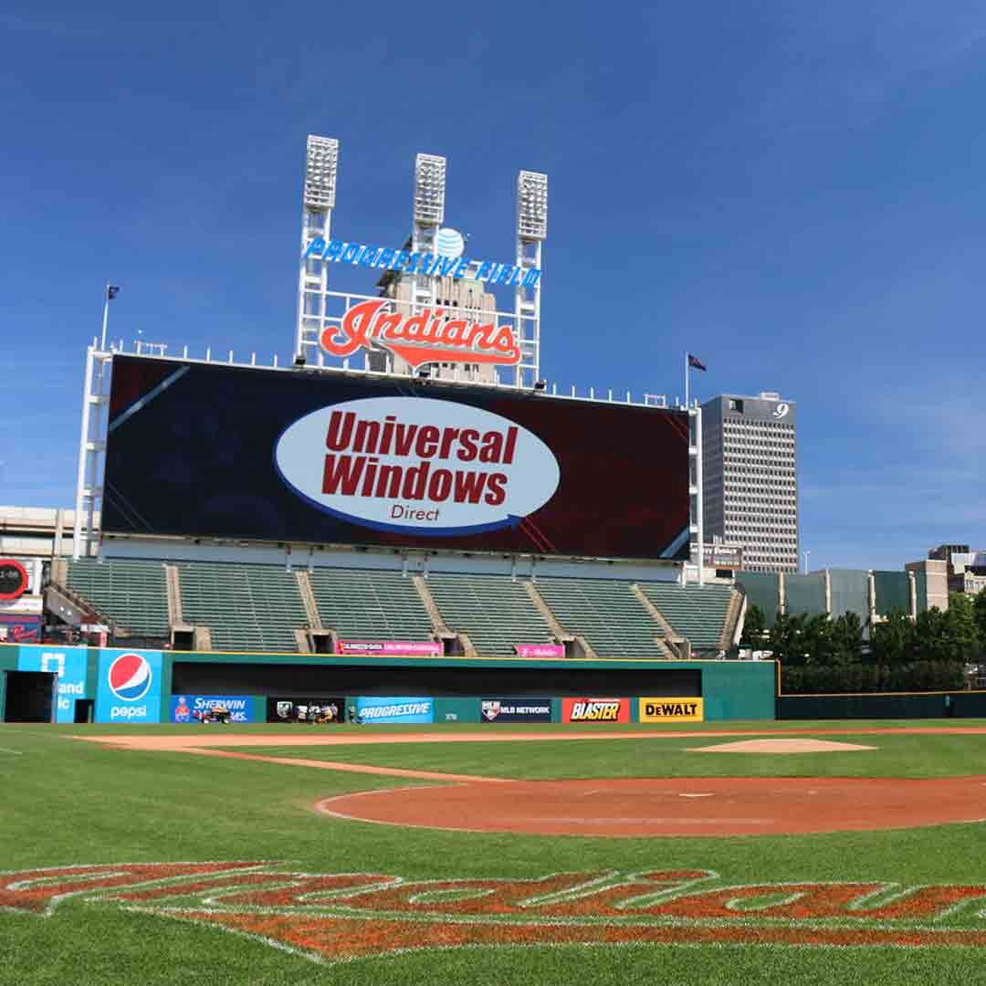 UWD on the scoreboard at Progressive Field