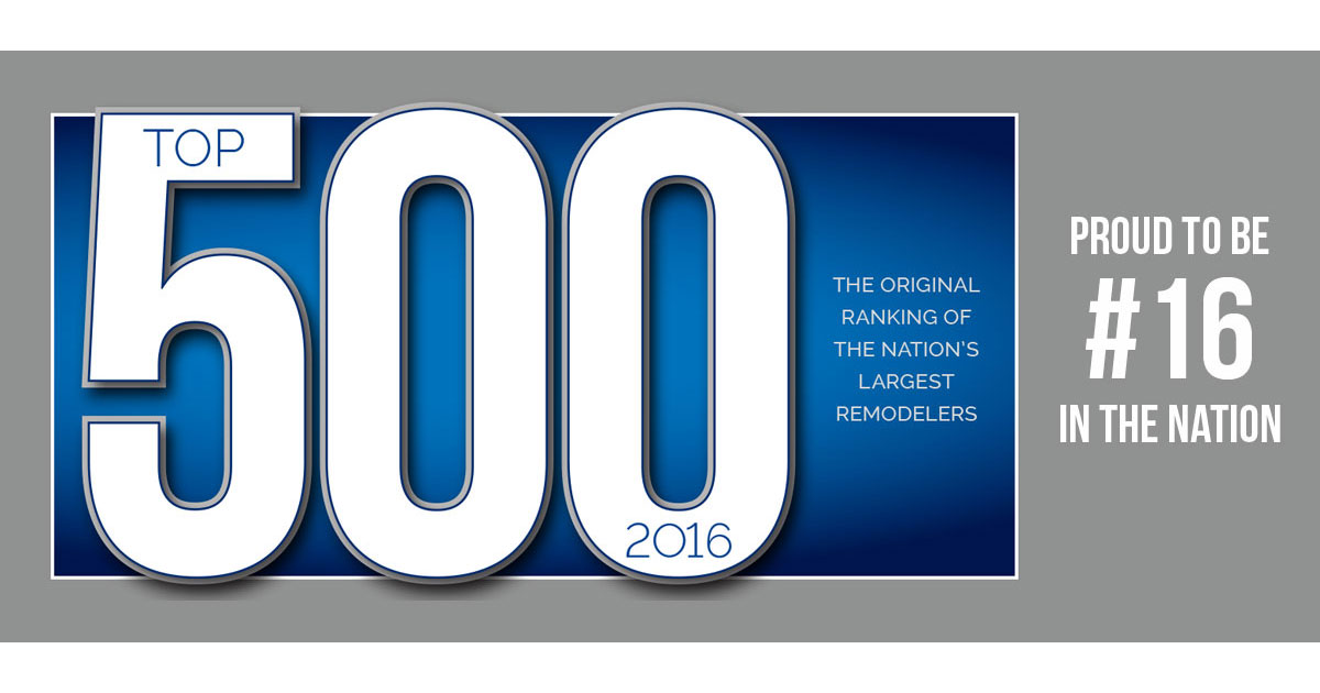 Proud to be number 16 on the Top 500 Qualified Remodeler list