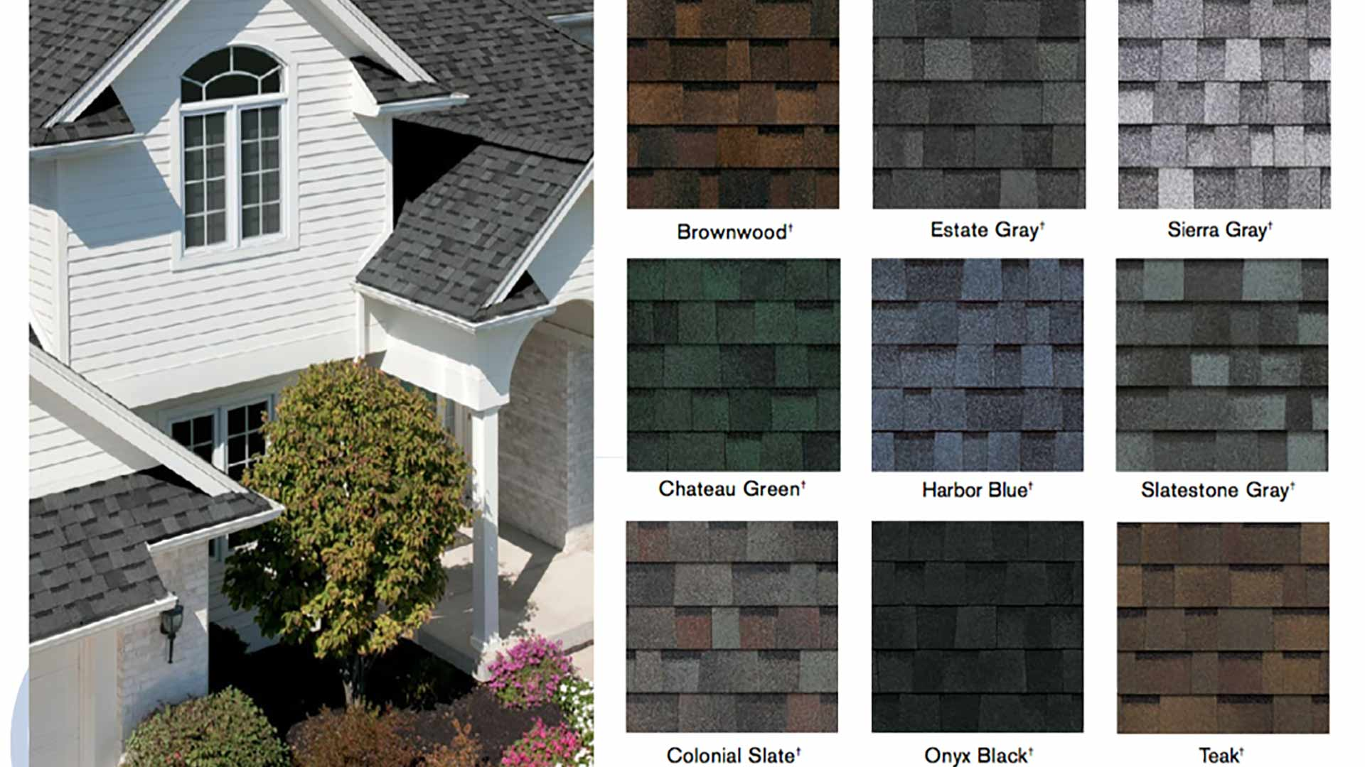 various colors of roofing shingles