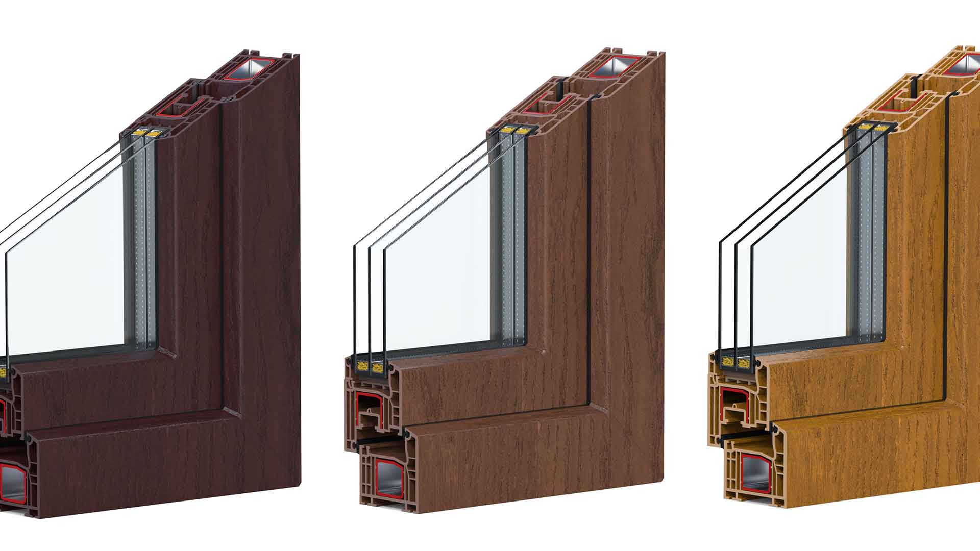 3 triple pane wood grain vinyl windows