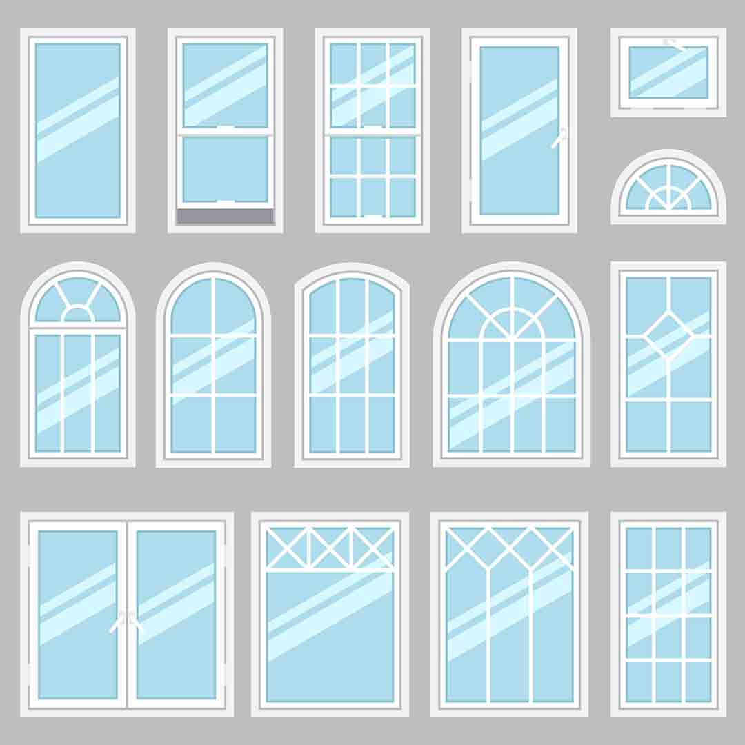 various illustrated window styles